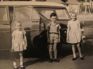 Off to school in the Holden.. before we had an awareness of what was cool and what wasn't.